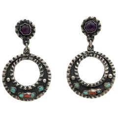 Mexican Vintage Jewelry Taxco Sterling Silver Gemstone Hoop Earrings Artisan