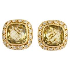 Seidengang Green Quartz and Diamond Earrings