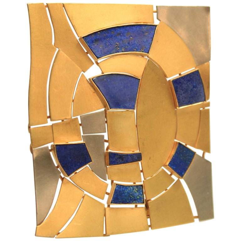 Modernist Gold and Lapis Lazuli Brooch Designed by Andre Lamy For Sale