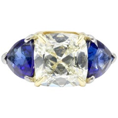 White Gold and Platinum 3.11 1.5 Carat Natural Sapphire Ring