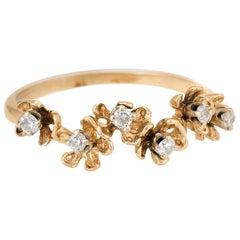 Buttercup Diamond Band Ring Vintage 14 Karat Yellow Gold Estate Fine Jewelry