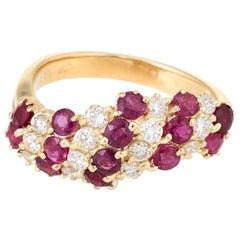 Ruby Diamond Vintage Candy Cane Ring 18 Karat Yellow Gold Estate Fine Jewelry