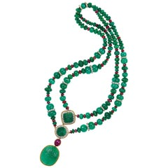 Emerald Ruby and Diamond Necklace