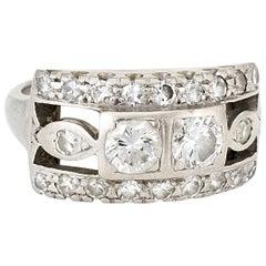 Double Diamond Band Ring Vintage 14 Karat White Gold Estate Fine Jewelry