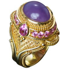 Holly Agate and Pink Sapphire 18 Karat Gold Granulation Cocktail Ring