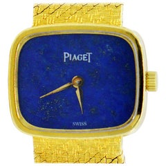 Piaget Ladies Yellow Gold Lapis Cushion Shape vintage mechanical Wristwatch