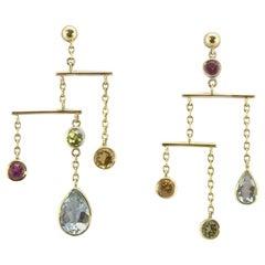 Sapphire Aquamarine Peridot Gold Pear Chandelier Earrings