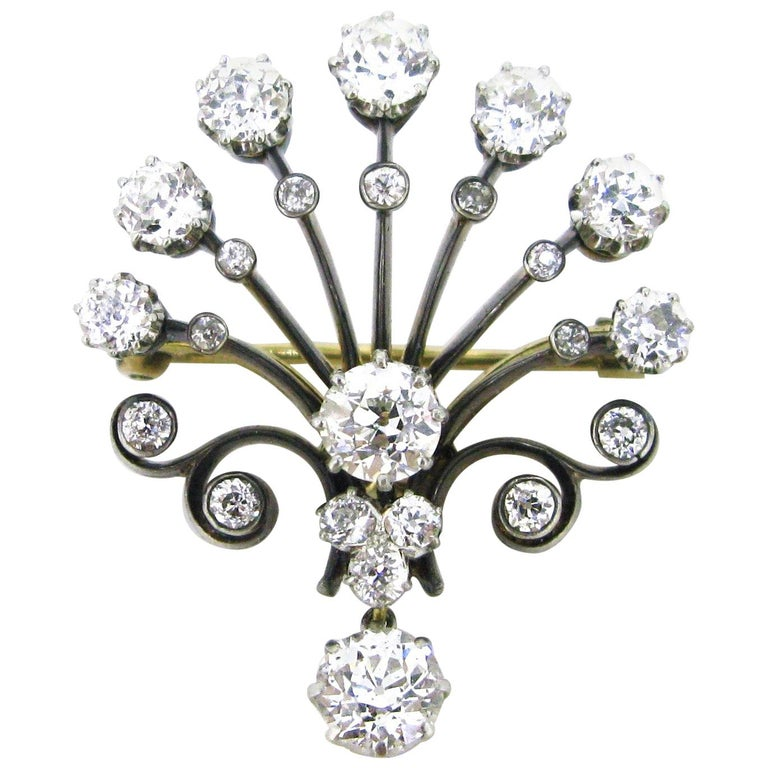Edwardian Belle Époque Peacock Old Cut Diamonds Brooch