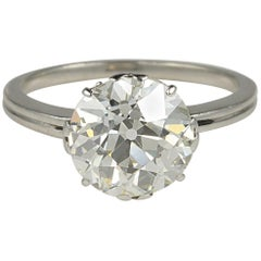 Art Deco 3.80 Carat K VS2 Old European Diamond Solitaire Platinum Ring