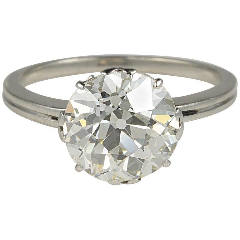 Art Deco 3.80 Carat K VS2 Old European Diamond Solitaire Platinum Ring