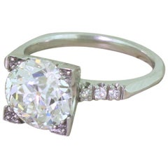 Art Deco 3.46 Carat Old European Cut Diamond Engagement Ring, circa 1930