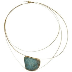 Aquamarine 18 Karat Yellow Gold Choker Necklace