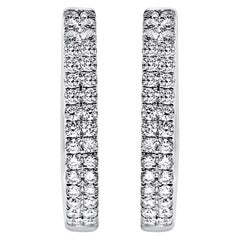 18K White Gold Oval Hoop Earrings Double Row Set with Diamonds