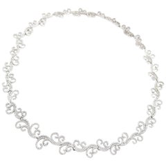 BOON Paisley Leaf Diamond White Gold Necklace 18.5 inch