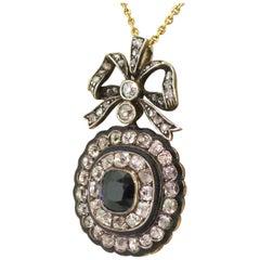 Victorian 1.26 Carat Sapphire, Old Cut Diamond and Enamel Pendant, circa 1880