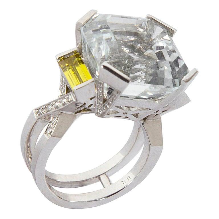 27.06 Carat Asscher Cut White Topaz Diamond Gold Ring
