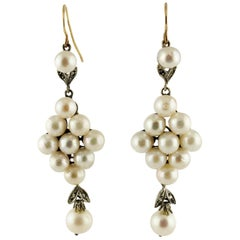Diamonds Pearls Rose Gold and Silver Earrings