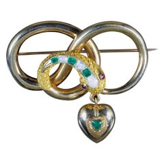 Antique Victorian Snake Heart Brooch 18 Carat, circa 1860