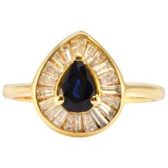 Solid 14 Karat Yellow Gold Genuine Sapphire and Natural Diamond Ring
