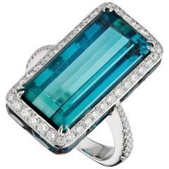 18K White Gold 14.17 Carat Blue Tourmaline, Diamond and Sapphire Cocktail Ring