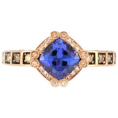 100% Authentic LeVian Solid 14 Karat Rose Gold Tanzanite and Diamond Ring