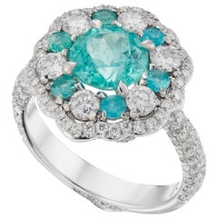 18K White Golf 1.65 Carat Paraiba Tourmaline Diamond Cocktail Ring
