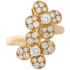 Van Cleef & Arpels 18 Karat Yellow Gold Diamond Double Trefle Flower Ring