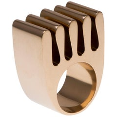 1970s Hans Hansen, Modernist Wave Gold Ring