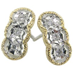 18 Karat and Diamond Florentine Engraved Stud Earrings, Made in Italy