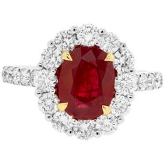 GIA Certified Burma Ruby Oval Single Halo Two Color Gold Bridal Fashion Ring