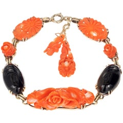 GIA Certified Coral Onyx Yellow Gold Bracelet