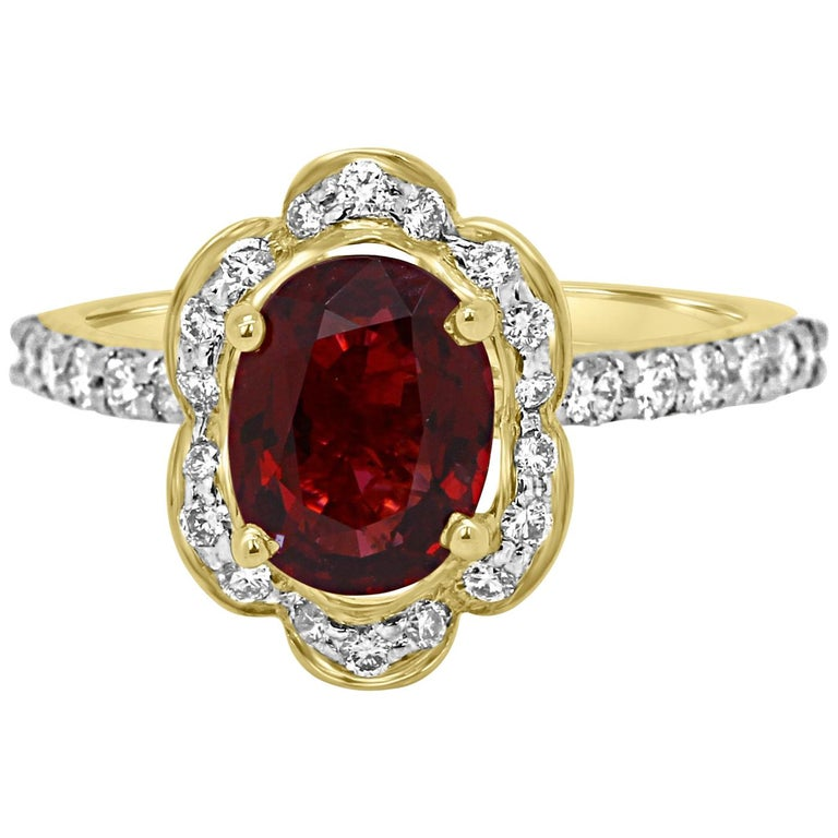 GIA Certified No Heat Burma Spinel Diamond Halo Gold Ring