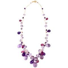Italian Designer Mariani 18 Karat Rose Gold Amethyst & Pink Tourmaline Necklace
