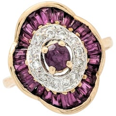 14 Karat Yellow Gold Ruby and Diamond Cocktail Ring