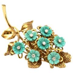 Solid 14 Karat Yellow Gold Natural Diamond and Turquoise Brooch