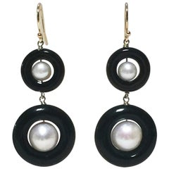 Double Black Onyx and Pearl Earrings with 14 Karat Yellow Gold Hook and Wiring