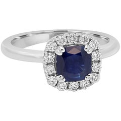 Blue Sapphire Cushion Diamond Halo Gold Ring