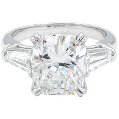 David Rosenberg 4.12 Carat Cushion GIA Platinum Three-Stone Diamond Ring