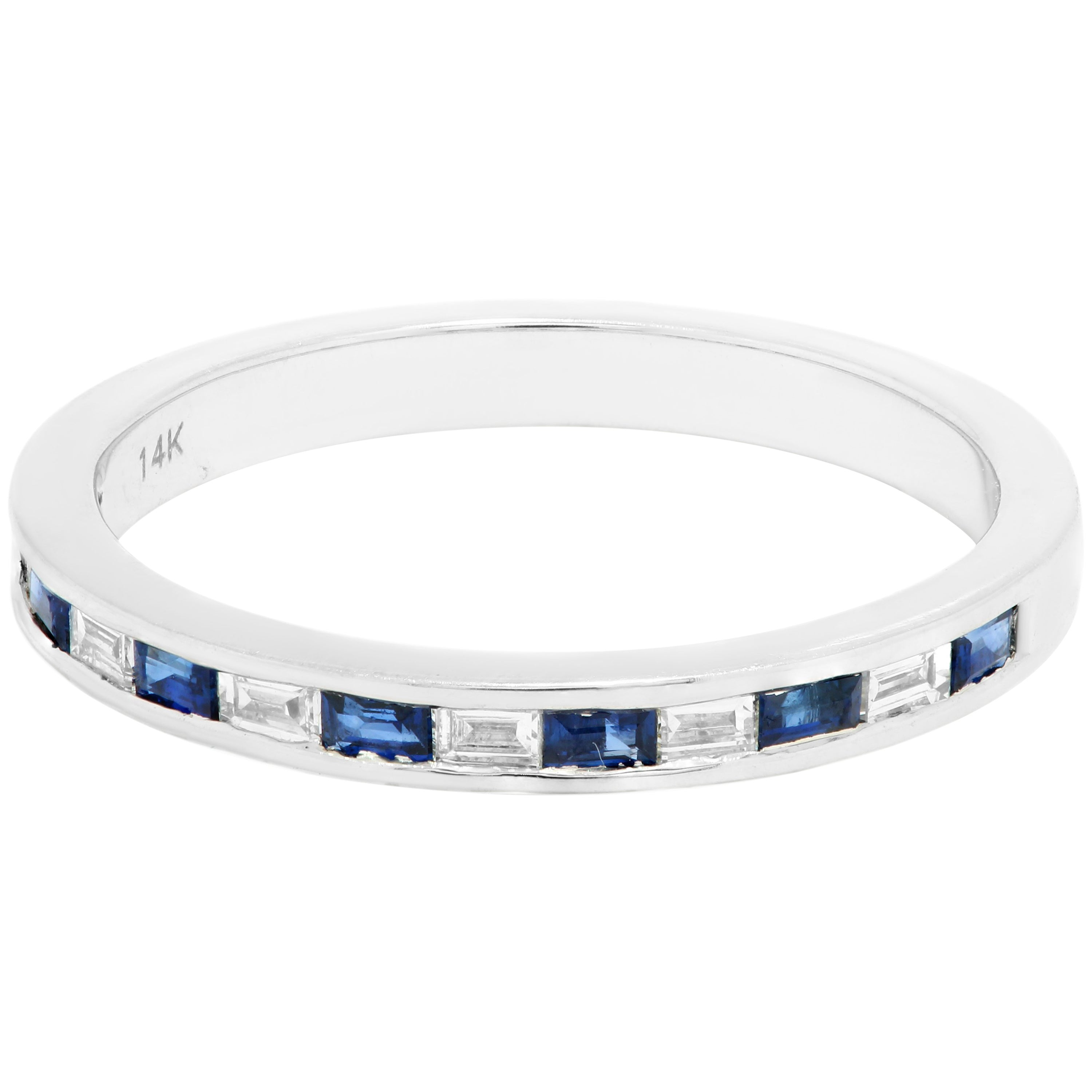 Blue Sapphire Diamond Baguette 14K White Gold Fashion Stackable Band Ring