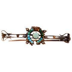 Solid 10 Karat Victorian Pin with Genuine Opal and Turquoise