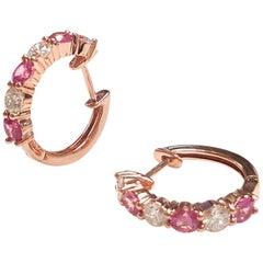 Ladies 14 Karat Rose Gold Round Pink Sapphire Alternate Hoop Earring