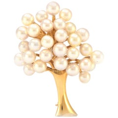 Solid 14 Karat Yellow Gold Genuine Pearl Tree Pin