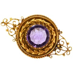Solid 14 Karat Yellow Gold Genuine Amethyst Antique Pin