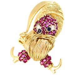 100% Authentic Kiri 18 Karat Yellow Gold Pirate Pin, Ruby, Sapphire and Diamonds