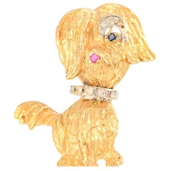 Solid 14 Karat Gold Designer Dog Pin with Natural Diamonds, Sapphires and Ruby