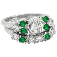 .33 Carat Diamond and Emerald Vintage Wedding Set White Gold