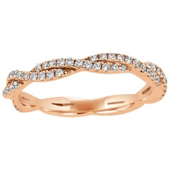 Natural Pink Diamond Twisted Rope Style Rose Gold Stackable Band Ring