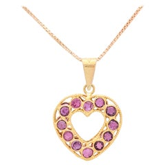 18 Karat Yellow Gold Ruby Heart Necklace