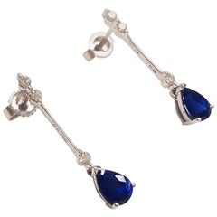 Ladies 18 Karat White Gold Pear Shape Sapphire Earring