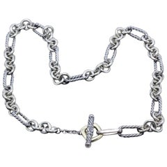 David Yurman Sterling Silver and 18 Karat Gold Figaro Chain Toggle Necklace